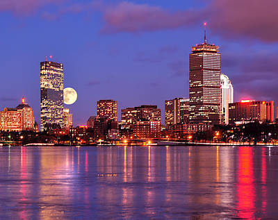Print featuring the photograph Moonlit Boston On The Charles by Mitchell R Grosky
