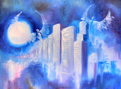 Painting - Moonlit City Blue by Andi Oakes