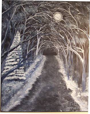 Moonlit Country Road Original by Lucia Grilletto