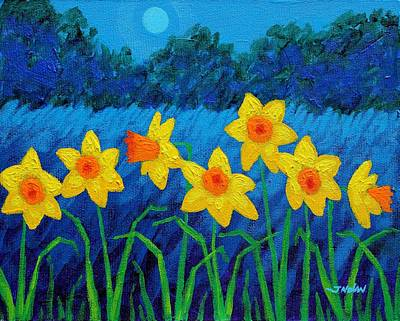 Poppies Field Painting - Moonlit Daffodils  by John  Nolan