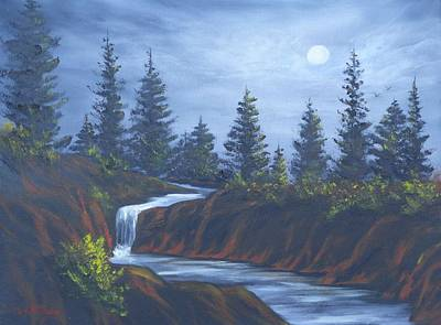 Painting - Moonlit Falls by Bob Williams