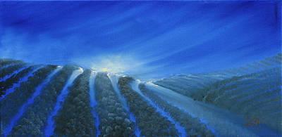 Field Painting - Moonlit Fields by David Kacey