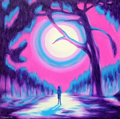 Moonlit Forest Art Print by Casoni Ibolya