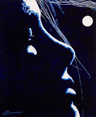 Matrix Painting - Moonlit Girl by Joe Ciccarone