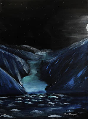 Moonlit Glacier Art Print