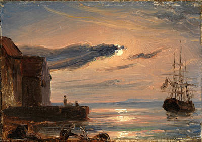 Fearnley Painting - Moonlit Harbor In Southern Italy by Thomas Fearnley