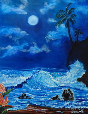Moonlit Hawaiian Night Art Print by Jenny Lee