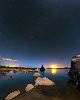 Moonlit Photograph - Moonlit Lake Alqueva by Babak Tafreshi