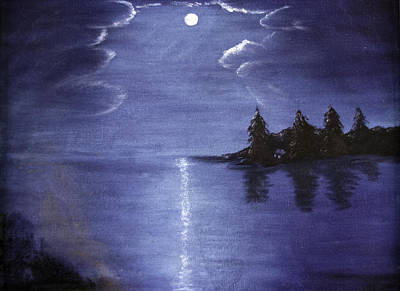Moonlit Lake Print by Judy Hall-Folde