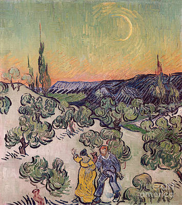 Moon Walk Painting - Moonlit Landscape by Vincent Van Gogh