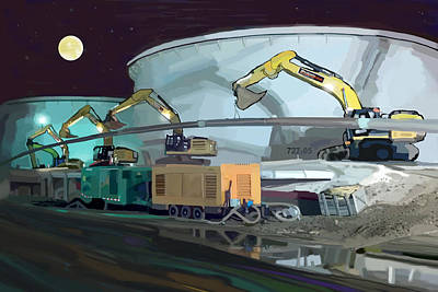 Caterpillar Wall Art - Painting - Moonlit Might by Brad Burns