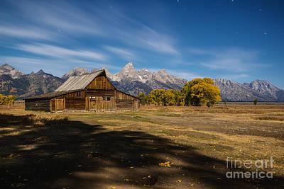 Photograph - Moonlit Mormon Barn At Grand Teton Np by Vishwanath Bhat