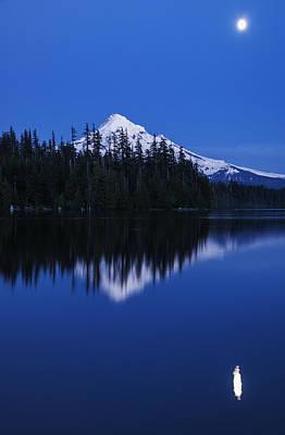 Moonlit Night Photograph - Moonlit Mount Hood Blue Hour by Vishwanath Bhat