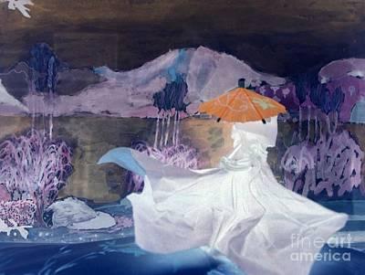 Negative Mixed Media - Moonlit Night Stroll by Nancy Kane Chapman