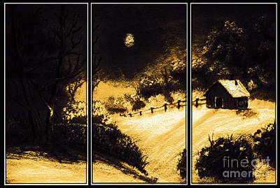 Snow Covered Ground Painting - Moonlit Night Triptych by Barbara Griffin