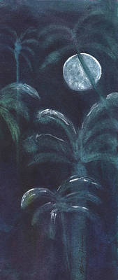 Painting - Moonlit Palms by Mickey Krause