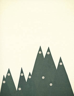 Mountain Mixed Media - Moonlit Peaks by Cassia Beck