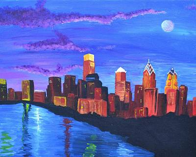 Philadelphia Pa Painting - Moonlit Philly by Jennifer Virgin