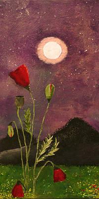 Moonlit Poppies Art Print by Rebecca Pickrel