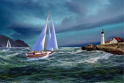 Portland Head Lighthouse Painting - Moonlit Portland Head by Ron Chambers