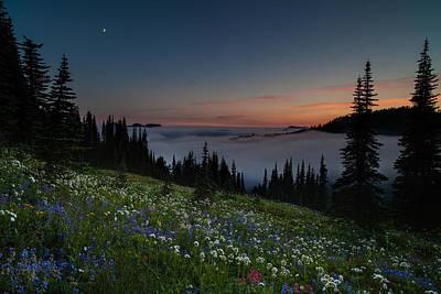 Moonlit Rainier Meadows Sunset Art Print by Mike Reid