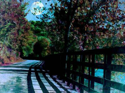 Photograph - Moonlit Road by EricaMaxine  Price