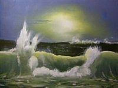 Painting - Moonlit Seascape by Eric Burgess-Ray