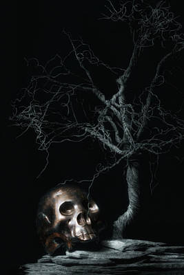Moonlit Skull And Tree Still Life Art Print by Tom Mc Nemar