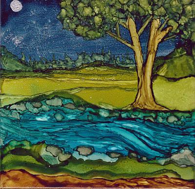 Moonlit Mixed Media - Moonlit Stream by Margo Darretta
