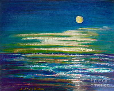 Sea Moon Full Moon Painting - Moonlit Tide by D Renee Wilson