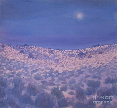 Moonlit Winter Desert Art Print by Suzanne McKay
