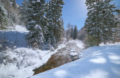 Winter Landscapes Photograph - Moonlit Winter Stream by Darren  White