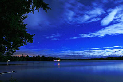 Photograph - Moonlit Wispy Clouds At The Lake by Barbara West
