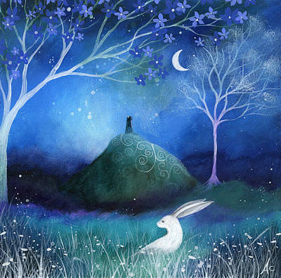 Trees Blossom Painting - Moonlite And Hare by Amanda Clark