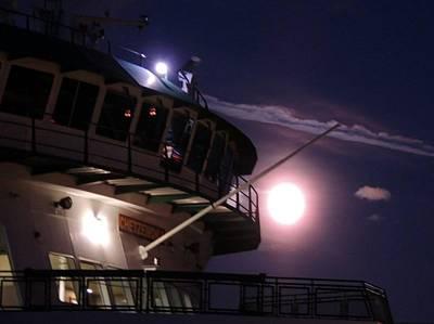 Moonlite Ferry Bridge Art Print