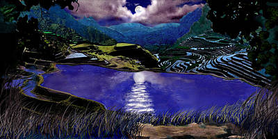 Digital Art - Moonlit Terraces by Steve Karol