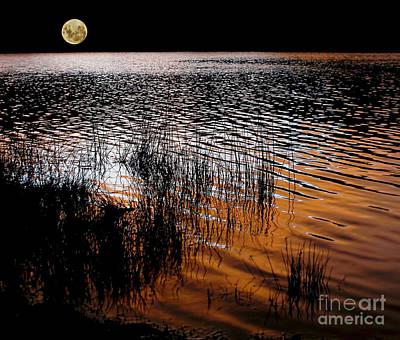 Moonrise After Sunset Art Print by Kaye Menner