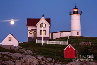 Cape Neddick Light Station Photograph - Moonrise At Nubble Light York Maine by Dawna  Moore Photography