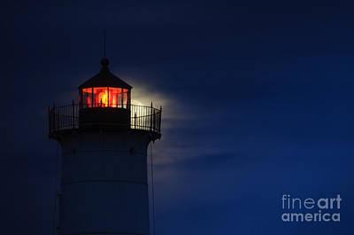 Moonrise At Nubble Lighthouse Art Print by Scott Thorp
