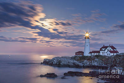 Photograph - Moonrise At Portland Head Light by Susan Cole Kelly