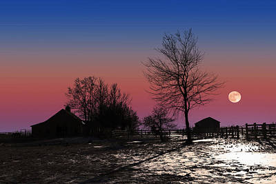 Art Print featuring the photograph Moonrise At Sunset by Larry Landolfi