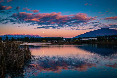 Photograph - Moonrise Cranbrook Baker Mountain by Rob Tullis