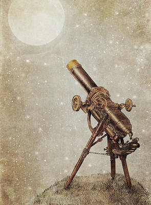 Astronomy Wall Art - Drawing - Moonrise by Eric Fan