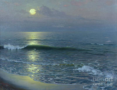 Moonlight Beach Painting - Moonrise by Guillermo Gomez y Gil