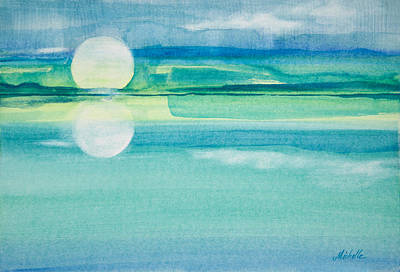Nature Abstract Painting - Moonrise In Blue Watercolor Painting by Michelle Wiarda-Constantine