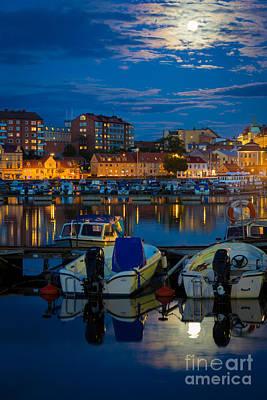 Reflective Photograph - Moonrise In Karlskrona by Inge Johnsson
