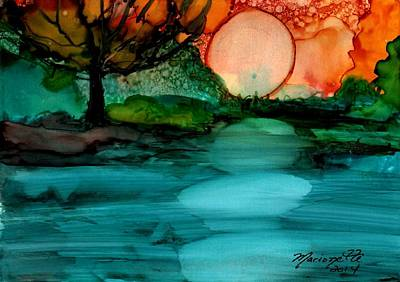 Alcohol Ink Painting - Moonrise by Marionette Taboniar