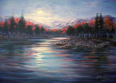 Moonrise On The Lake#2 Art Print