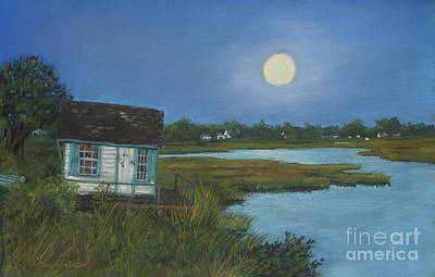 North Fork Painting - Moonrise Orient Point by Susan Herbst
