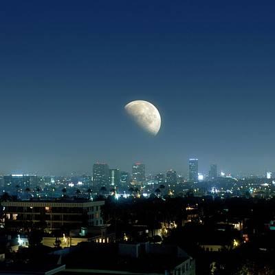 Moonrise Over Beverley Hills Art Print by Detlev Van Ravenswaay